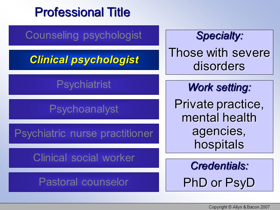 Copyright © Allyn & Bacon 2007 Specialty: Those with severe disorders Work setting: Private practice, mental health agencies, hospitals Credentials: P