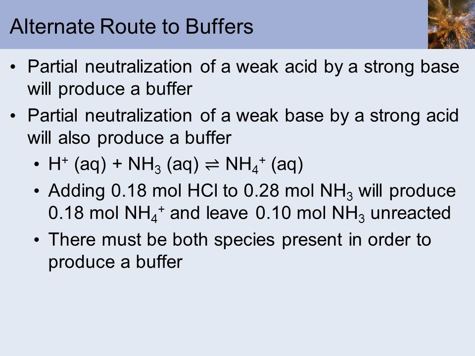 Alternate Route to Buffers Partial neutralization of a weak acid by a strong base will produce a buffer Partial neutralization of a weak base by a str