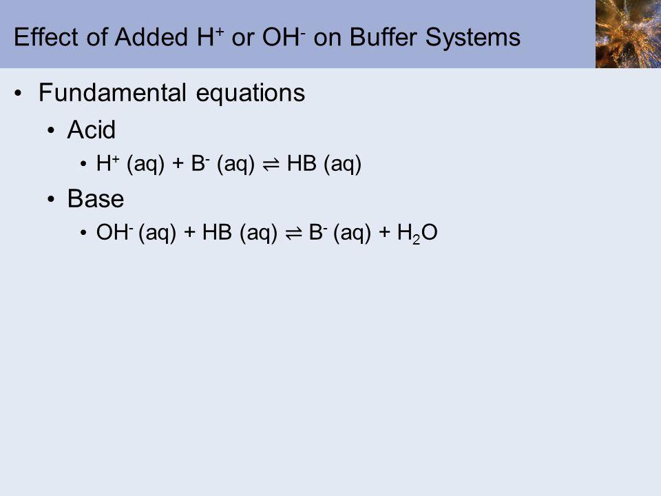 Effect of Added H + or OH - on Buffer Systems Fundamental equations Acid H + (aq) + B - (aq) HB (aq) Base OH - (aq) + HB (aq) B - (aq) + H 2 O