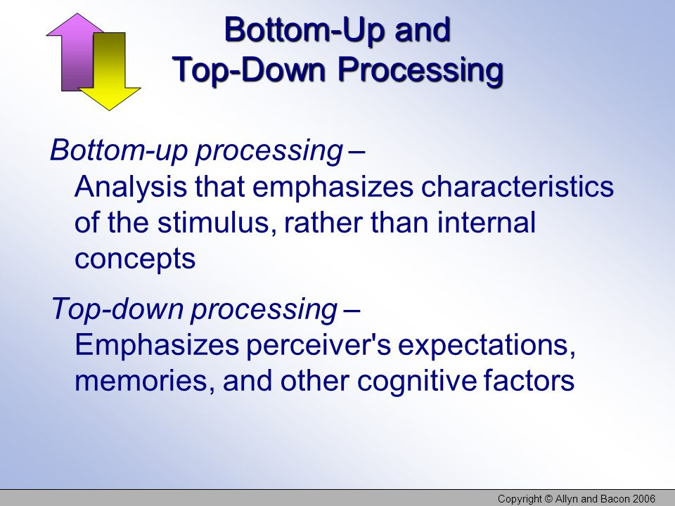 Copyright © Allyn and Bacon 2006 Bottom-Up and Top-Down Processing Bottom-up processing – Analysis that emphasizes characteristics of the stimulus, ra