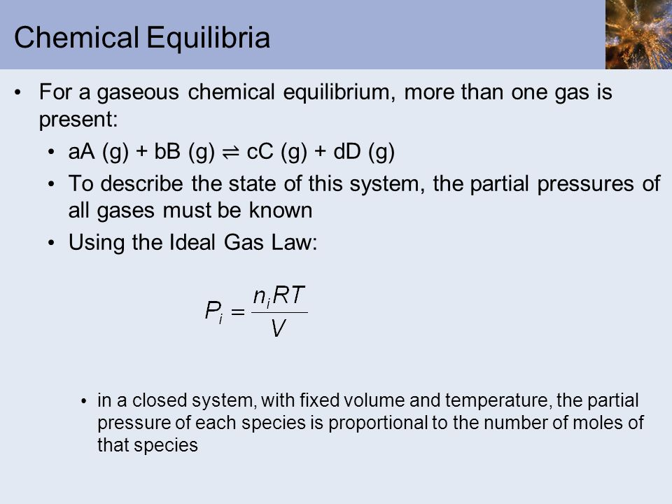 Chemical Equilibria For a gaseous chemical equilibrium, more than one gas is present: aA (g) + bB (g) cC (g) + dD (g) To describe the state of this sy