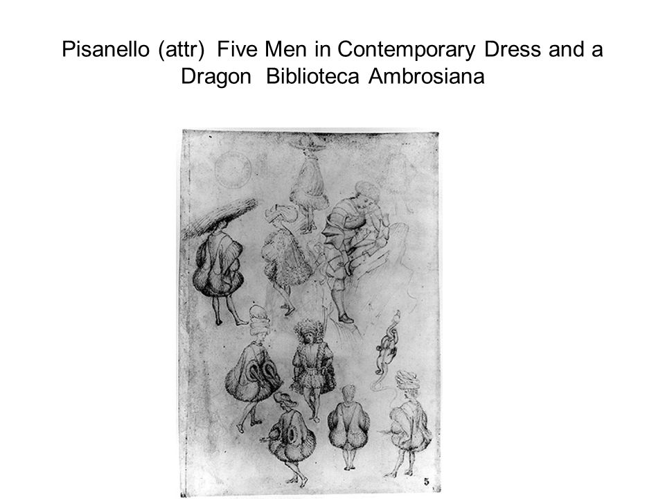Pisanello (attr) Five Men in Contemporary Dress and a Dragon Biblioteca Ambrosiana