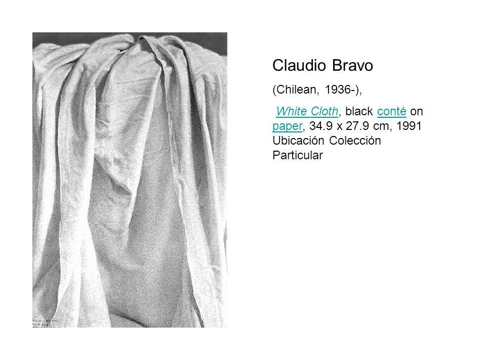 Claudio Bravo (Chilean, 1936-), White Cloth, black conté on paper, 34.9 x 27.9 cm, 1991 Ubicación Colección ParticularWhite Clothconté paper