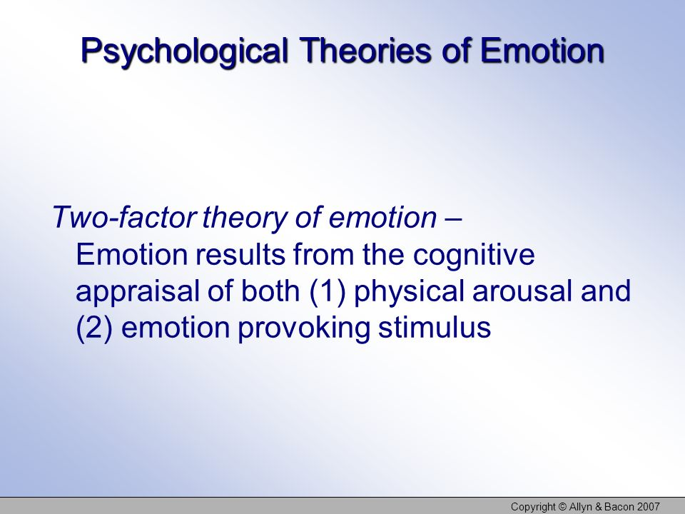 Copyright © Allyn & Bacon 2007 Psychological Theories of Emotion Two-factor theory of emotion – Emotion results from the cognitive appraisal of both (