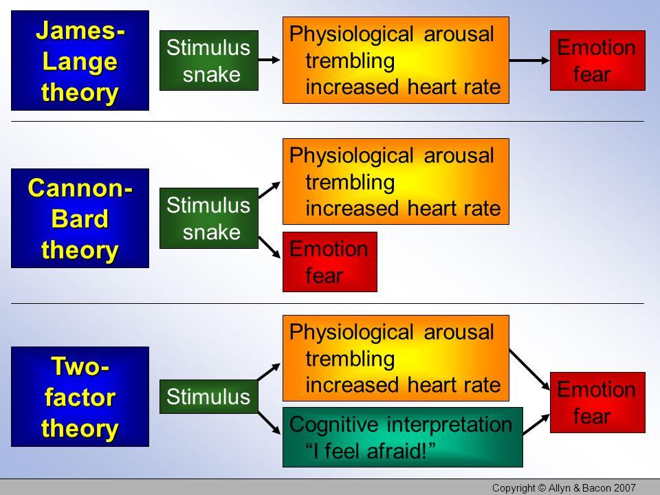 Copyright © Allyn & Bacon 2007 Emotion fear Cognitive interpretation I feel afraid! Physiological arousal trembling increased heart rate James- Lange