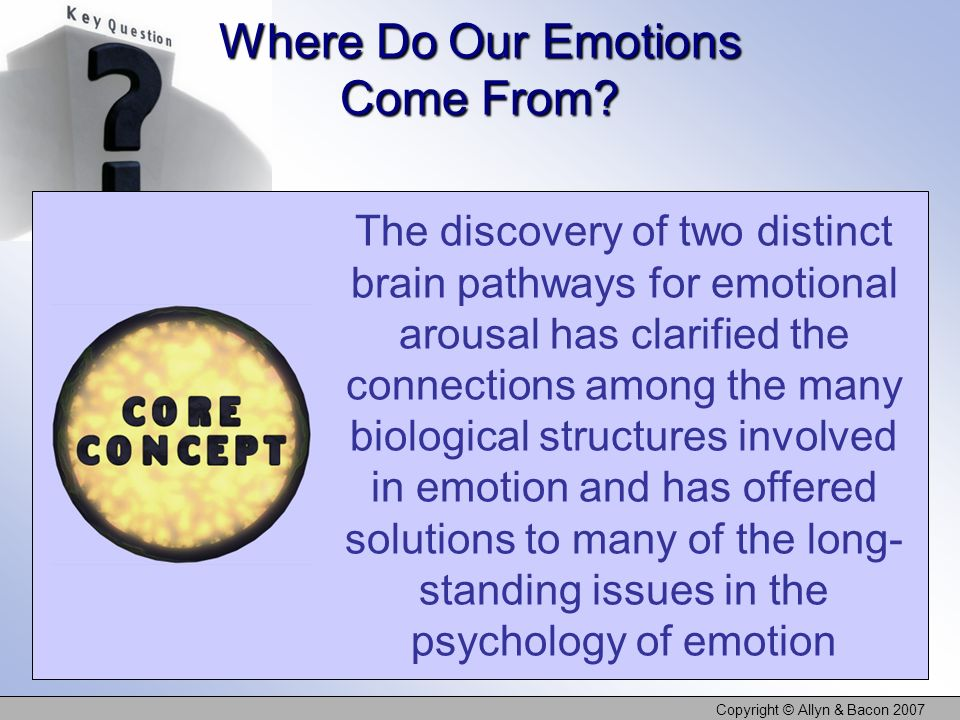 Copyright © Allyn & Bacon 2007 The discovery of two distinct brain pathways for emotional arousal has clarified the connections among the many biologi