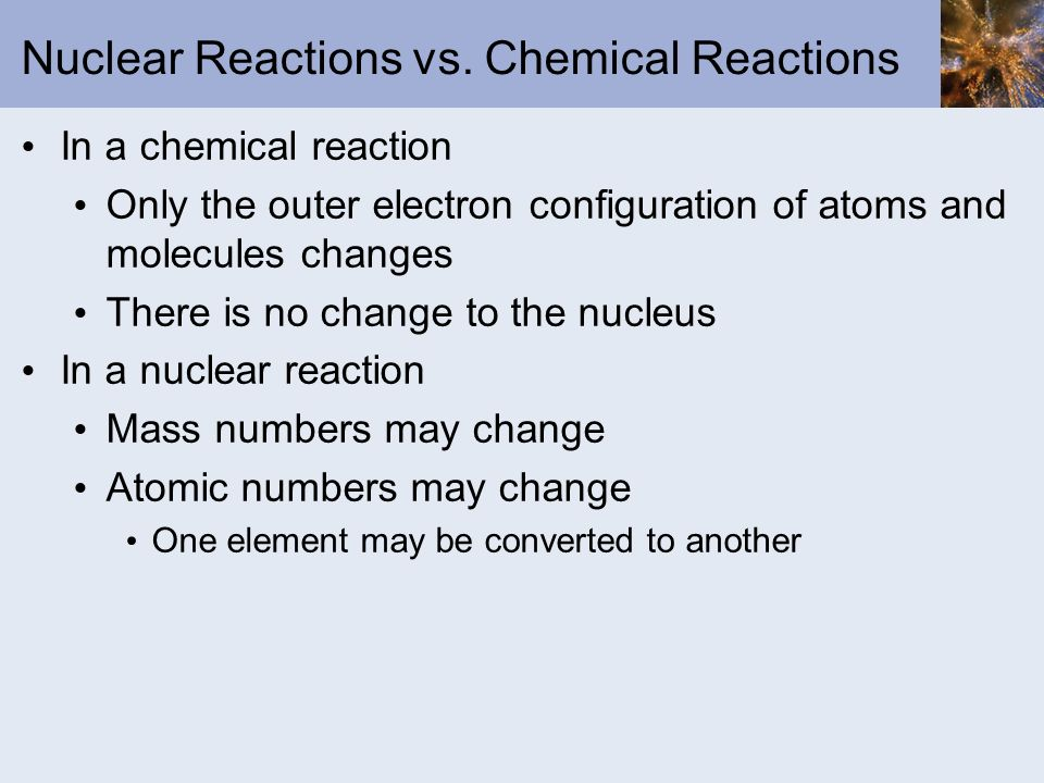 Mass-Energy Relations The energy change accompanying a nuclear reaction can be calculated from the equation Where Δm = change in mass = mass of products minus mass of reactants ΔE = change in energy = energy of products – energy of reactants c is the speed of light