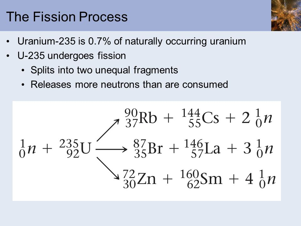 The Fission Process Uranium-235 is 0.7% of naturally occurring uranium U-235 undergoes fission Splits into two unequal fragments Releases more neutron