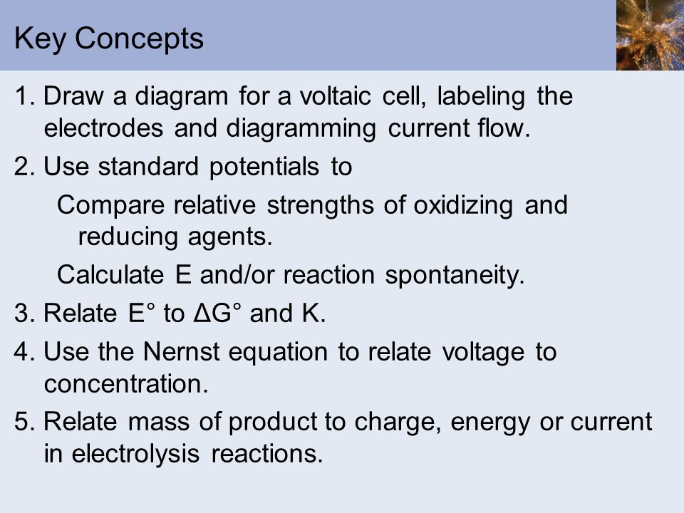 Key Concepts 1. Draw a diagram for a voltaic cell, labeling the electrodes and diagramming current flow. 2. Use standard potentials to Compare relativ