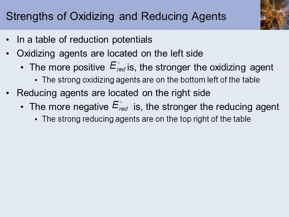 Strengths of Oxidizing and Reducing Agents In a table of reduction potentials Oxidizing agents are located on the left side The more positive is, the