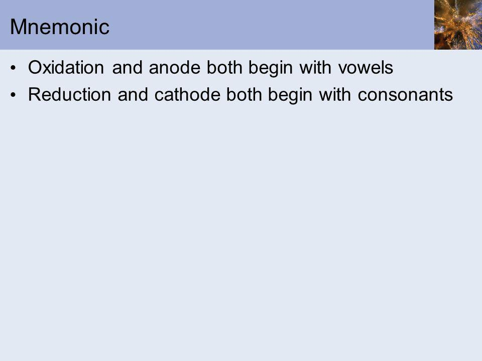 Mnemonic Oxidation and anode both begin with vowels Reduction and cathode both begin with consonants