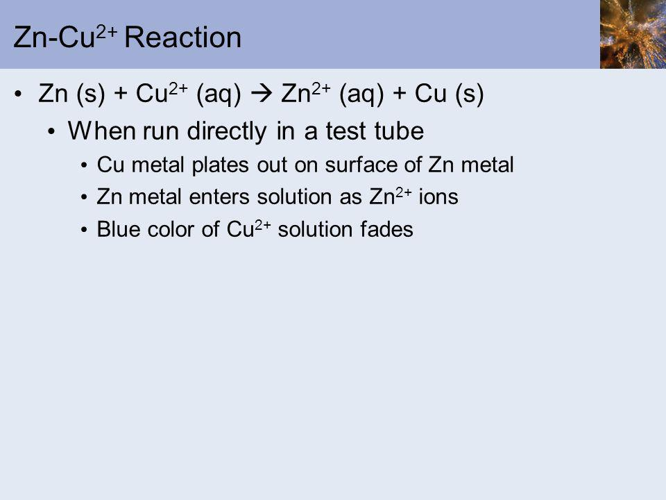Zn-Cu 2+ Reaction Zn (s) + Cu 2+ (aq) Zn 2+ (aq) + Cu (s) When run directly in a test tube Cu metal plates out on surface of Zn metal Zn metal enters