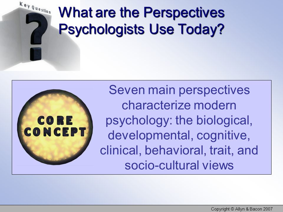 Copyright © Allyn & Bacon 2007 What are the Perspectives Psychologists Use Today? Seven main perspectives characterize modern psychology: the biologic