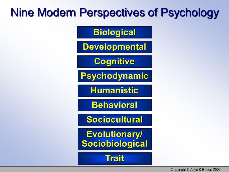 Copyright © Allyn & Bacon 2007 Biological Developmental Psychodynamic Sociocultural Cognitive Behavioral Trait Nine Modern Perspectives of Psychology
