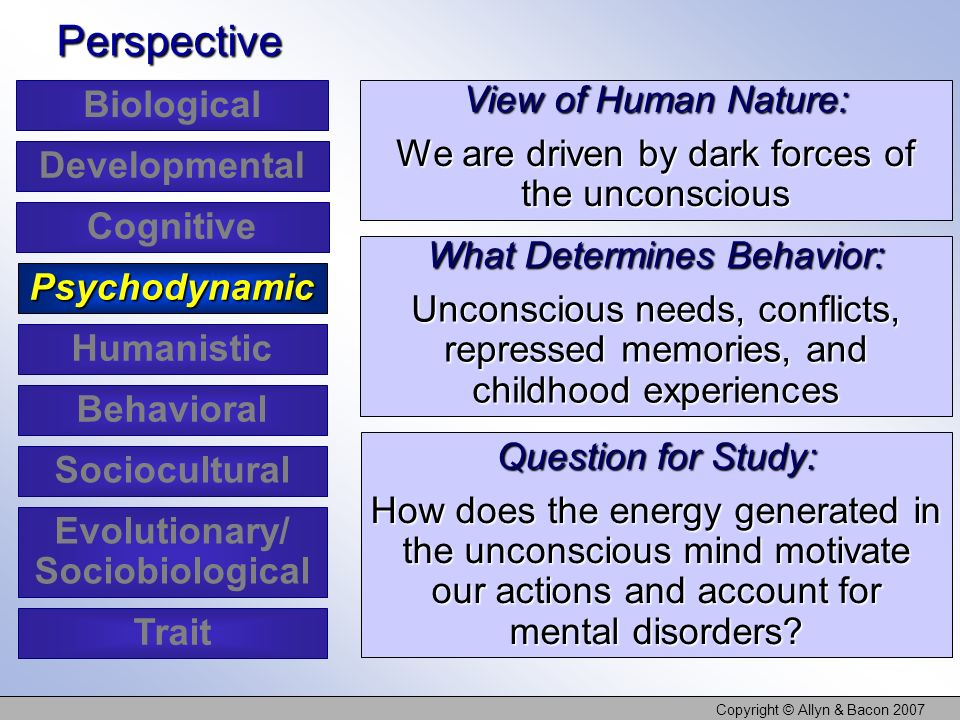 Copyright © Allyn & Bacon 2007 View of Human Nature: We are driven by dark forces of the unconscious Perspective What Determines Behavior: Unconscious