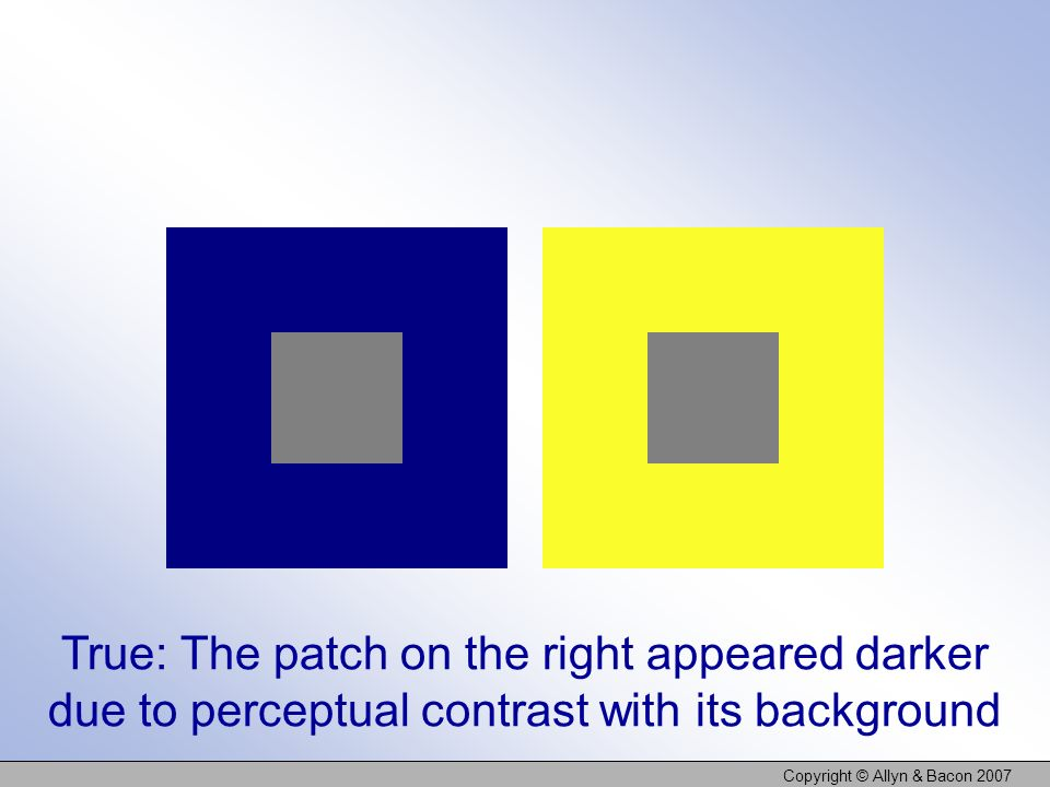 Copyright © Allyn & Bacon 2007 True: The patch on the right appeared darker due to perceptual contrast with its background