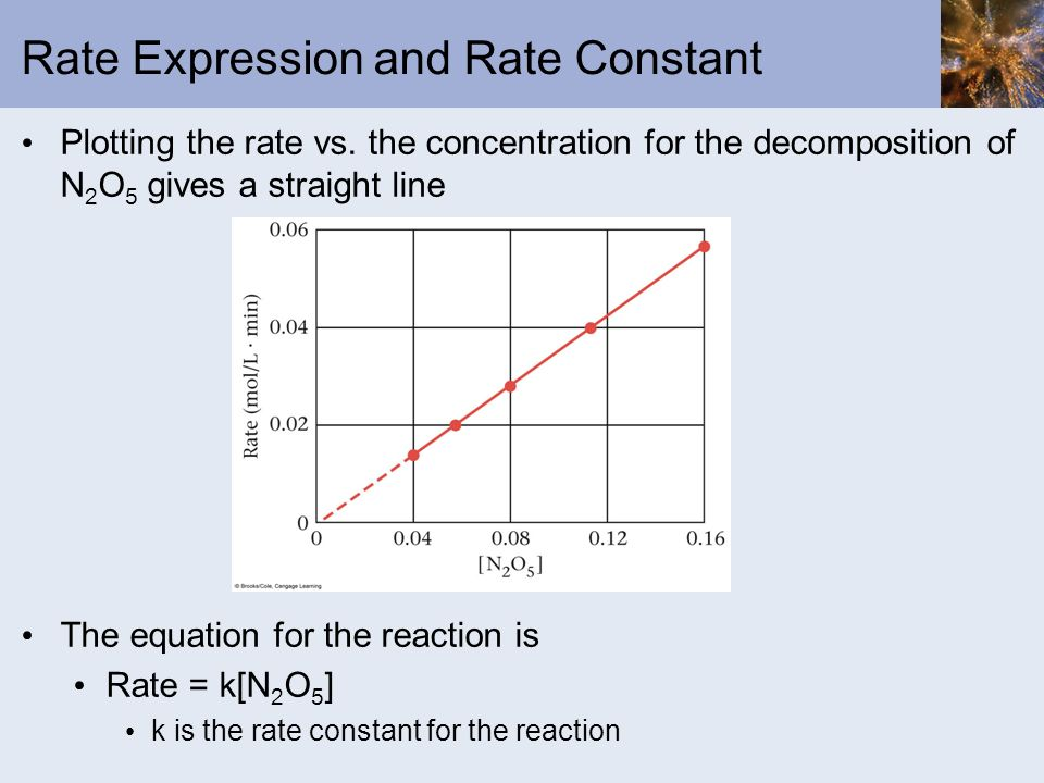 Rate Expression and Rate Constant Plotting the rate vs. the concentration for the decomposition of N 2 O 5 gives a straight line The equation for the