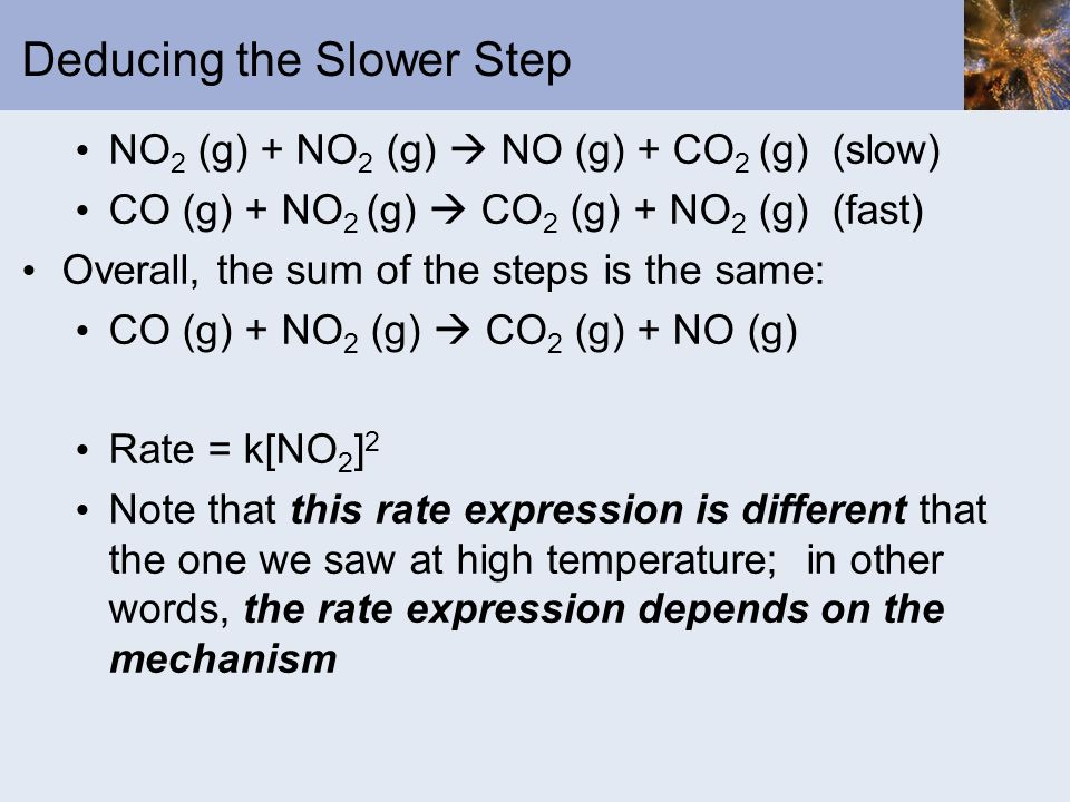 Deducing the Slower Step NO 2 (g) + NO 2 (g) NO (g) + CO 2 (g) (slow) CO (g) + NO 2 (g) CO 2 (g) + NO 2 (g) (fast) Overall, the sum of the steps is th