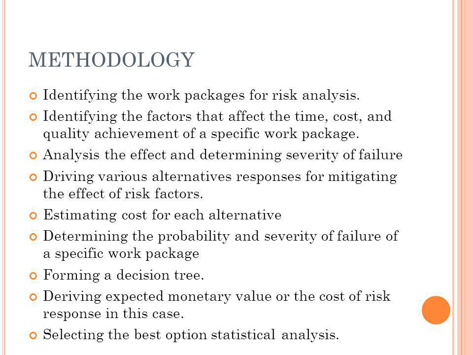 METHODOLOGY Identifying the work packages for risk analysis. Identifying the factors that affect the time, cost, and quality achievement of a specific