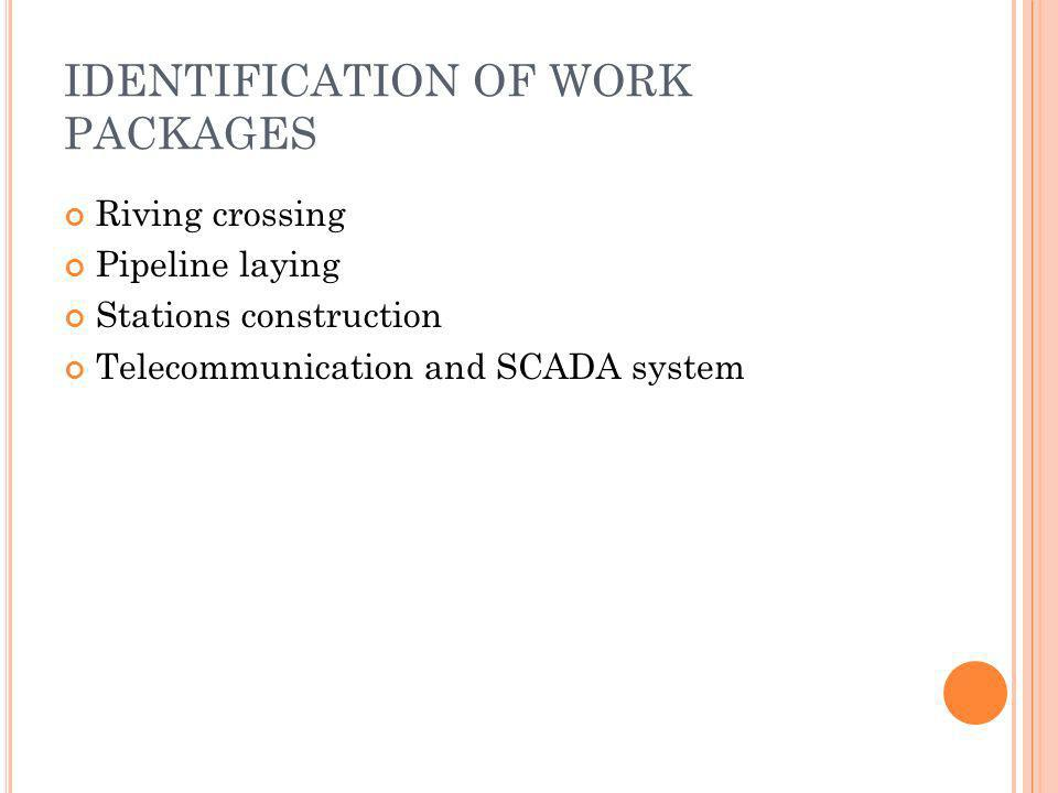 IDENTIFICATION OF WORK PACKAGES Riving crossing Pipeline laying Stations construction Telecommunication and SCADA system