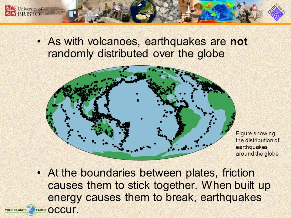 As with volcanoes, earthquakes are not randomly distributed over the globe At the boundaries between plates, friction causes them to stick together. W