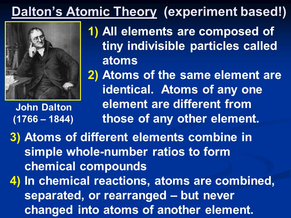 Daltons Atomic Theory (experiment based!) 3)Atoms of different elements combine in simple whole-number ratios to form chemical compounds 4)In chemical