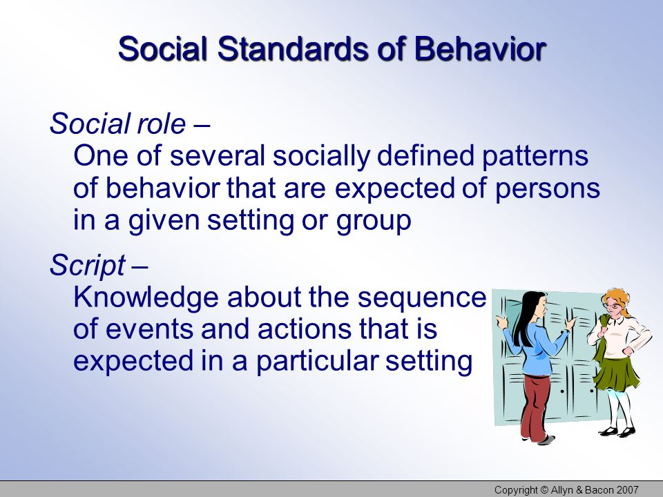 Copyright © Allyn & Bacon 2007 Social Standards of Behavior Social norms – A groups expectations regarding what is appropriate and acceptable for its members attitudes and behavior Social norms influence students political views