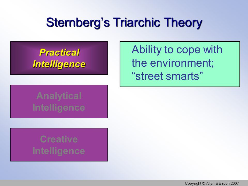 Copyright © Allyn & Bacon 2007 Sternbergs Triarchic Theory Ability to cope with the environment; street smarts Practical Intelligence Analytical Intelligence Creative Intelligence