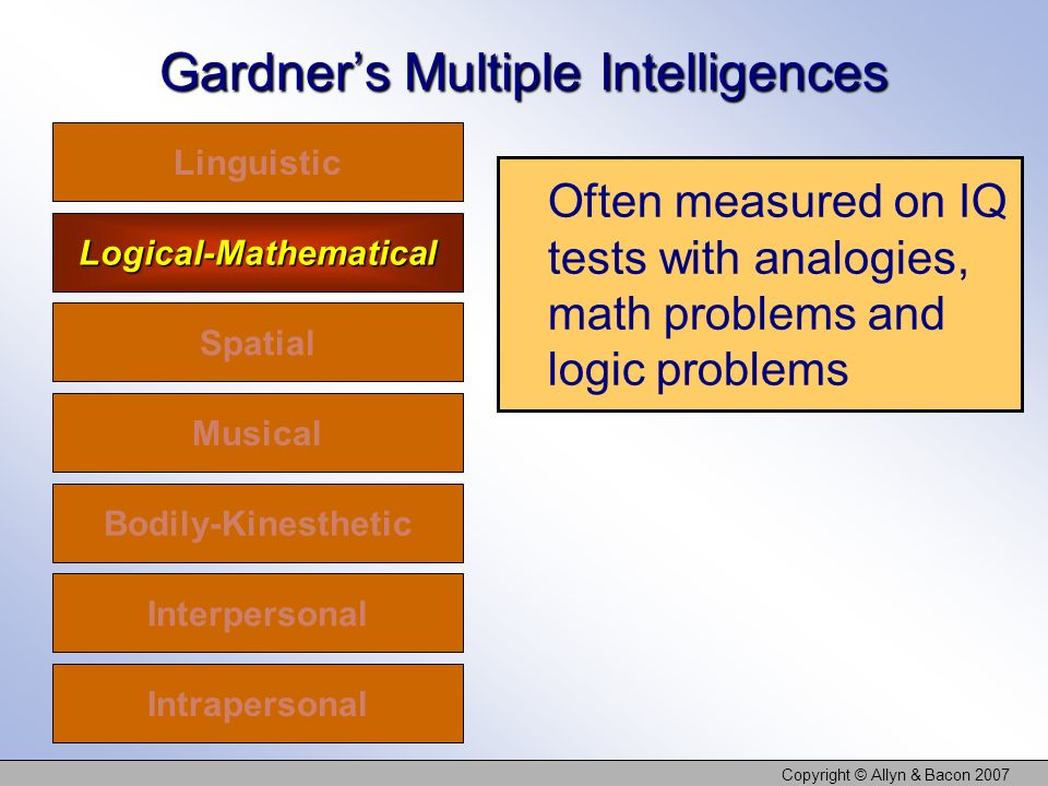 Copyright © Allyn & Bacon 2007 Gardners Multiple Intelligences Linguistic Logical-Mathematical Spatial Musical Bodily-Kinesthetic Interpersonal Intrapersonal Often measured on IQ tests with analogies, math problems and logic problems