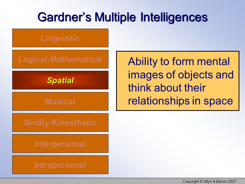 Copyright © Allyn & Bacon 2007 Gardners Multiple Intelligences Linguistic Logical-Mathematical Spatial Musical Bodily-Kinesthetic Interpersonal Intrapersonal Ability to form mental images of objects and think about their relationships in space