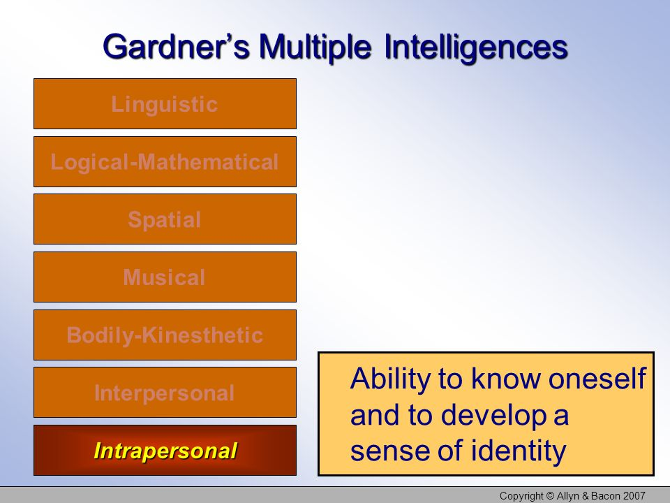 Copyright © Allyn & Bacon 2007 Gardners Multiple Intelligences Linguistic Logical-Mathematical Spatial Musical Bodily-Kinesthetic Interpersonal Intrapersonal Ability to know oneself and to develop a sense of identity