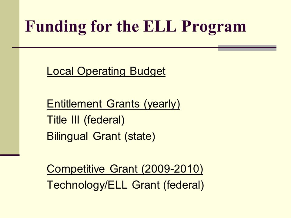 Local Operating Budget Entitlement Grants (yearly) Title III (federal) Bilingual Grant (state) Competitive Grant (2009-2010) Technology/ELL Grant (fed
