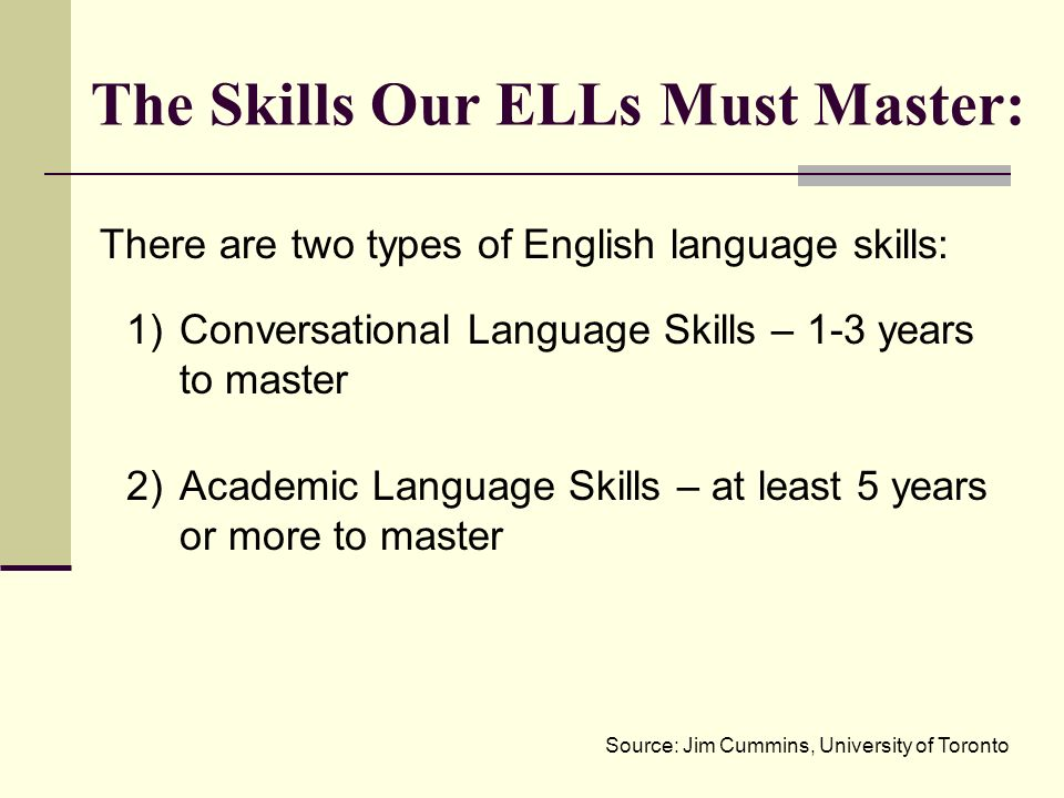 There are two types of English language skills: 1)Conversational Language Skills – 1-3 years to master 2)Academic Language Skills – at least 5 years o