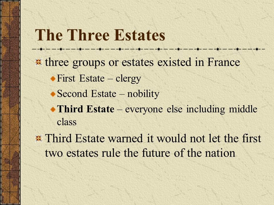 The Three Estates three groups or estates existed in France First Estate – clergy Second Estate – nobility Third Estate – everyone else including midd