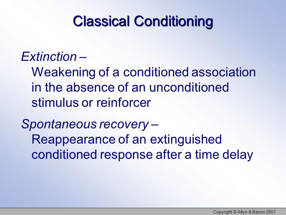 Copyright © Allyn & Bacon 2007 Classical Conditioning Extinction – Weakening of a conditioned association in the absence of an unconditioned stimulus