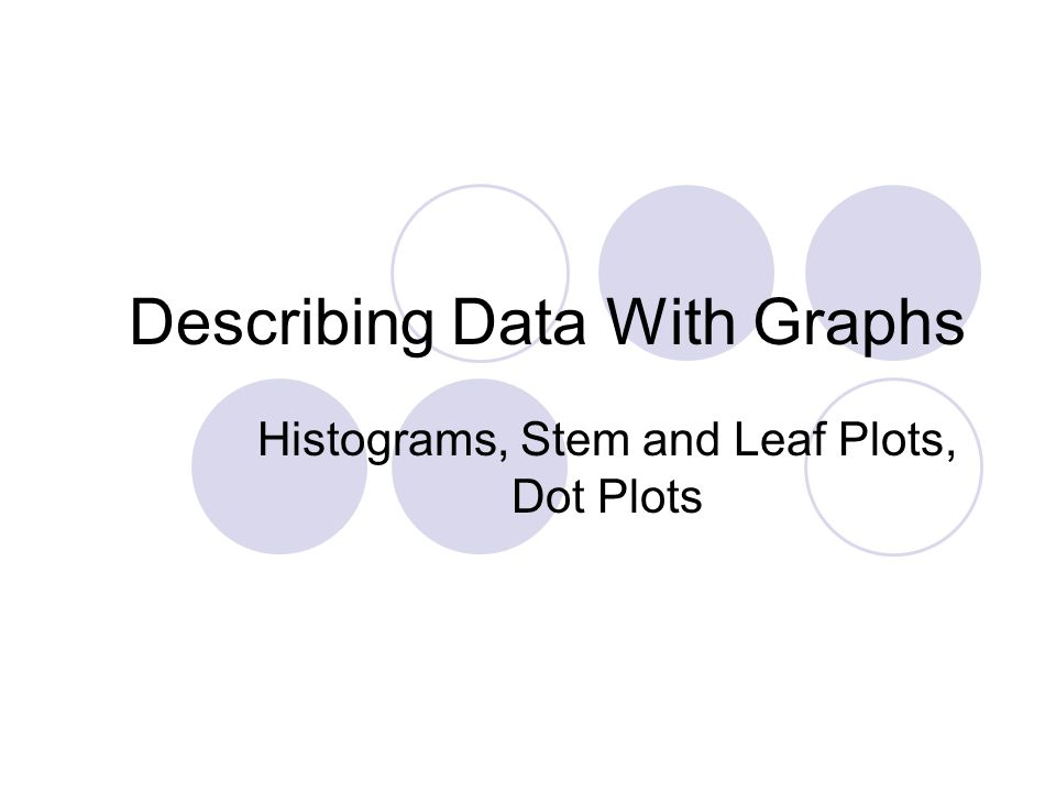 Describing Data With Graphs Histograms, Stem and Leaf Plots, Dot Plots