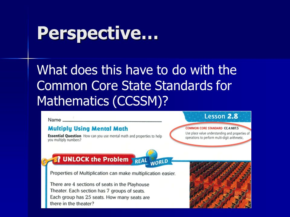 Perspective… What does this have to do with the Common Core State Standards for Mathematics (CCSSM)?
