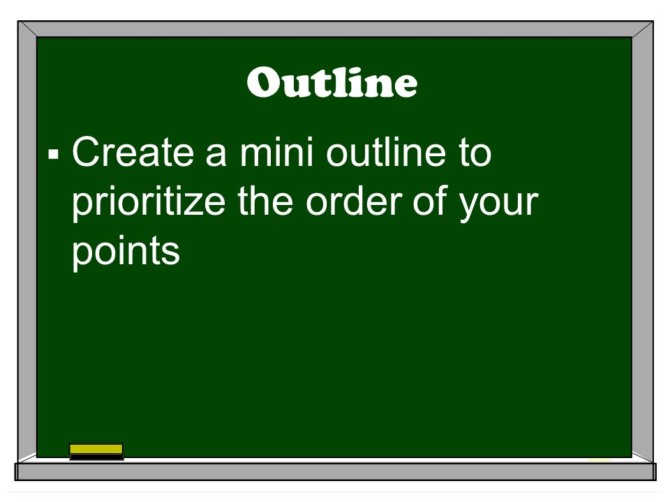 Outline Create a mini outline to prioritize the order of your points