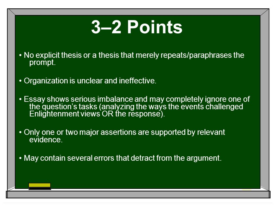 3–2 Points No explicit thesis or a thesis that merely repeats/paraphrases the prompt.