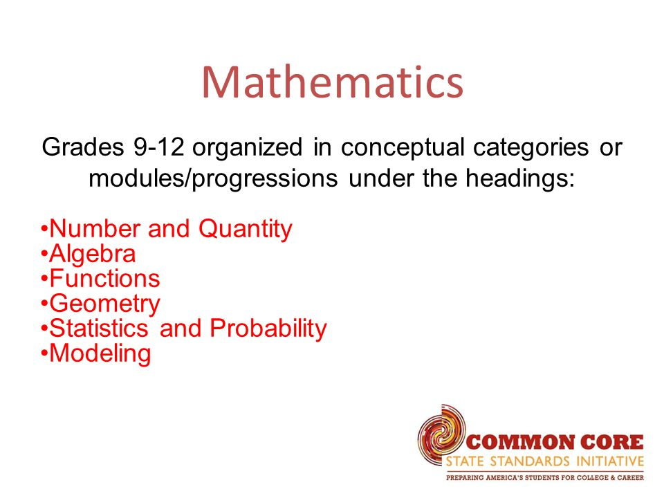 Mathematics Grades 9-12 organized in conceptual categories or modules/progressions under the headings: Number and Quantity Algebra Functions Geometry Statistics and Probability Modeling