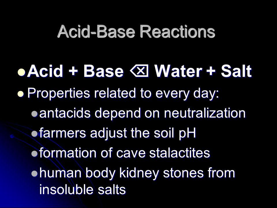 Acid-Base Reactions Acid + Base Water + Salt Acid + Base Water + Salt Properties related to every day: Properties related to every day: antacids depen