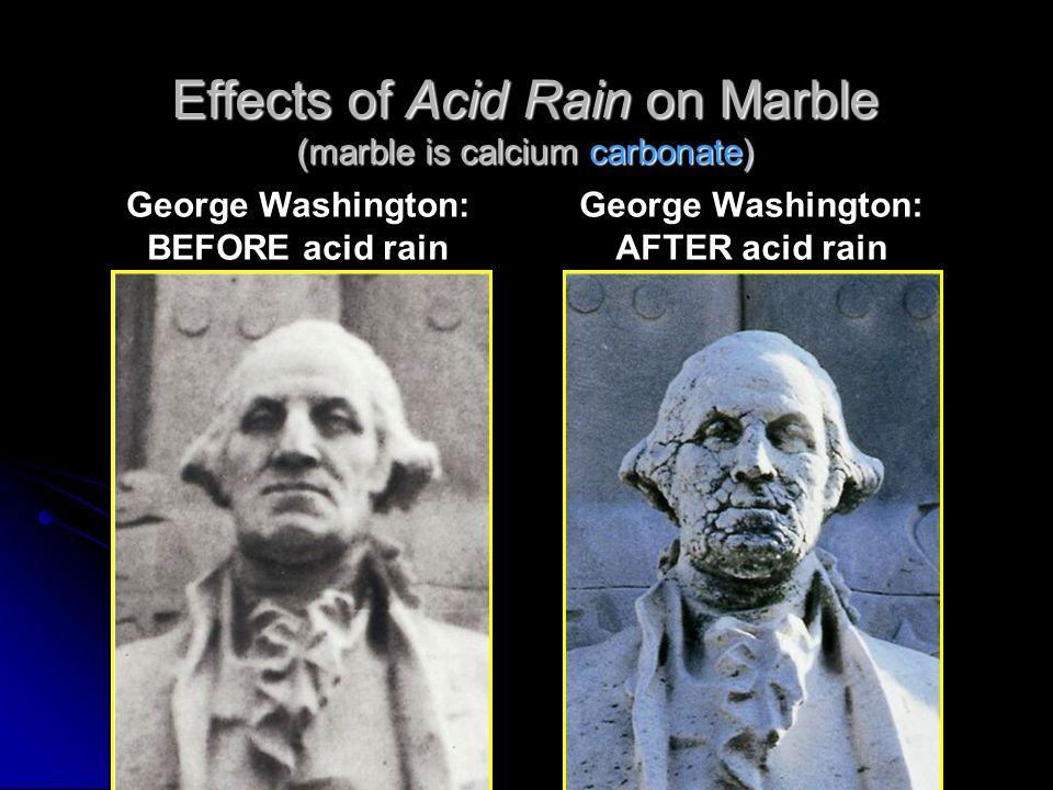 Effects of Acid Rain on Marble (marble is calcium carbonate) George Washington: BEFORE acid rain George Washington: AFTER acid rain