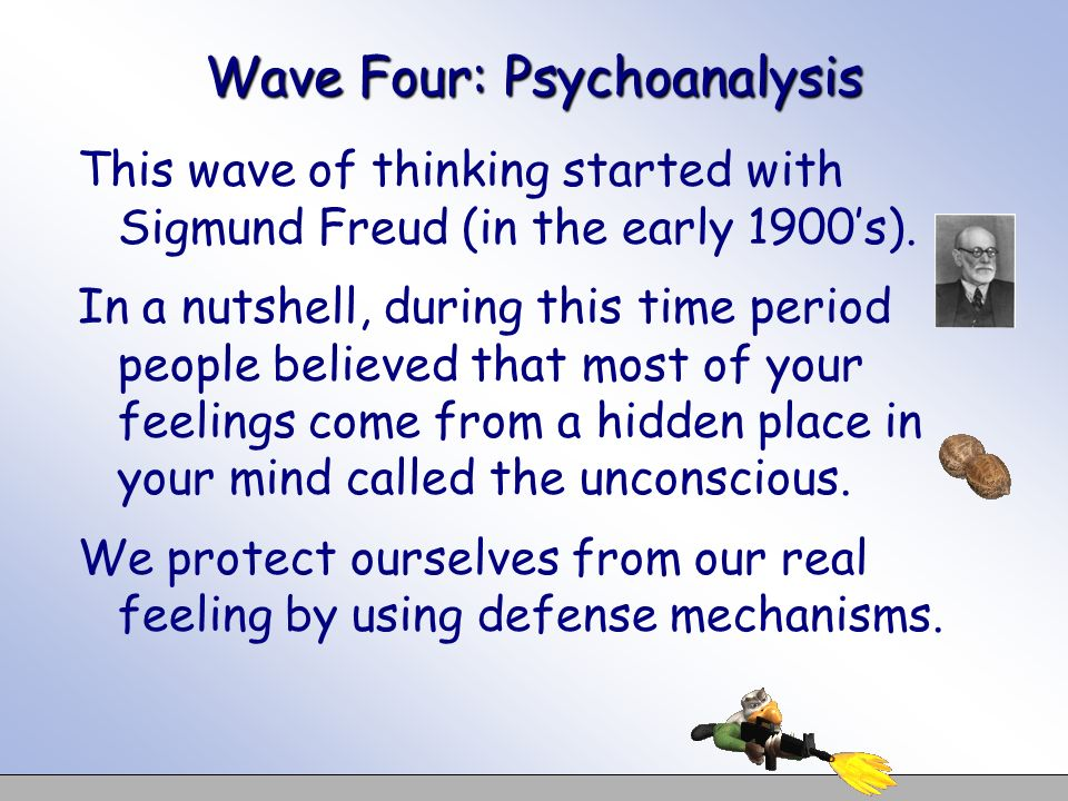Wave Four: Psychoanalysis This wave of thinking started with Sigmund Freud (in the early 1900s). In a nutshell, during this time period people believe