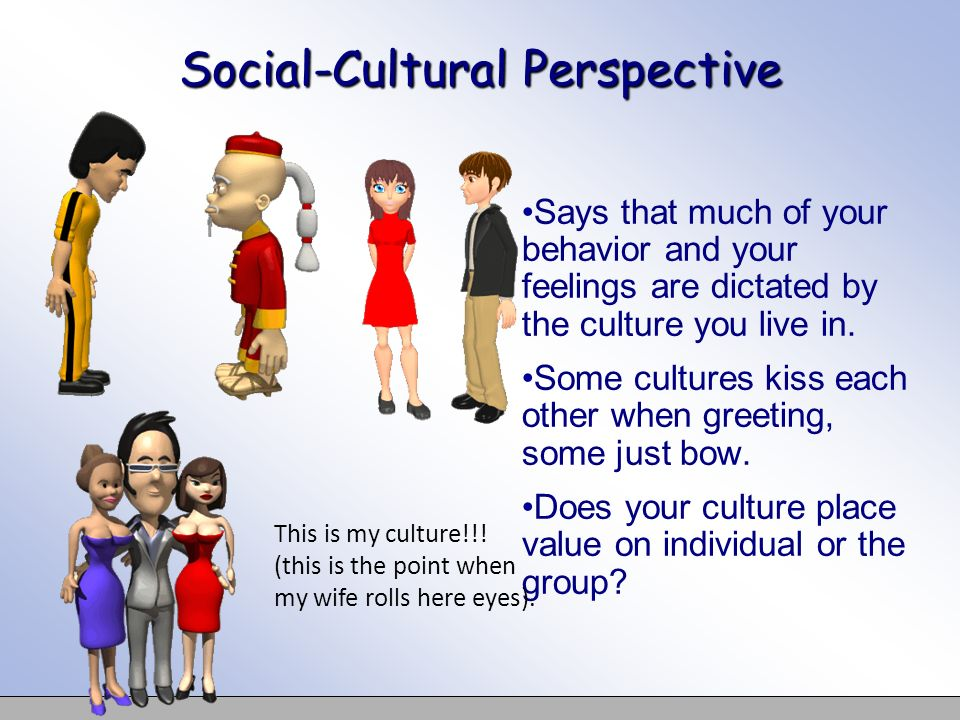 Social-Cultural Perspective Says that much of your behavior and your feelings are dictated by the culture you live in. Some cultures kiss each other w