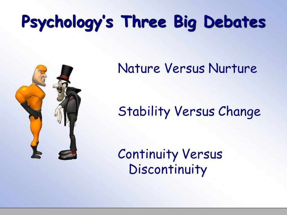 Psychologys Three Big Debates Nature Versus Nurture Stability Versus Change Continuity Versus Discontinuity