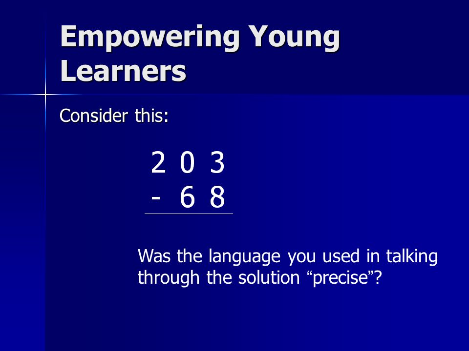 Consider this: Was the language you used in talking through the solution precise? Empowering Young Learners