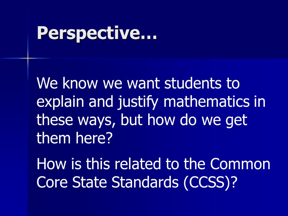 Perspective… How is this related to the Common Core State Standards (CCSS)?