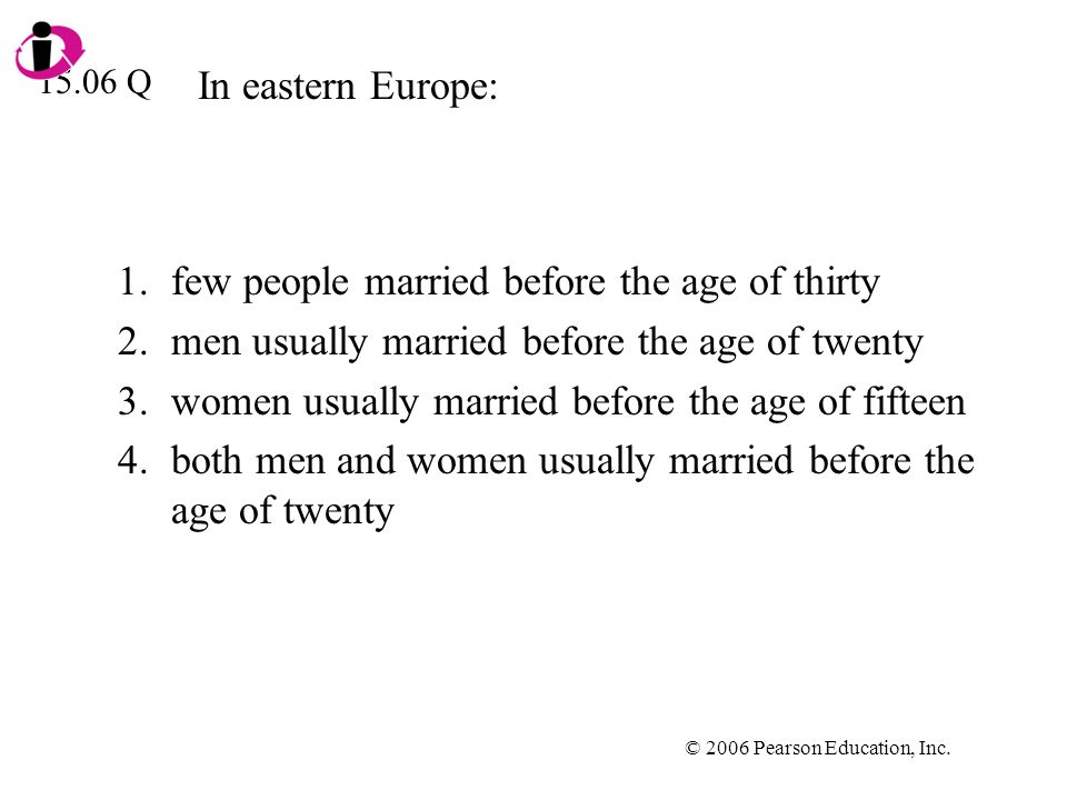 © 2006 Pearson Education, Inc. In eastern Europe: 1.few people married before the age of thirty 2.men usually married before the age of twenty 3.women
