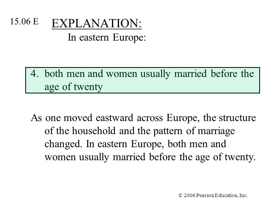 © 2006 Pearson Education, Inc. EXPLANATION: In eastern Europe: 4.both men and women usually married before the age of twenty As one moved eastward acr