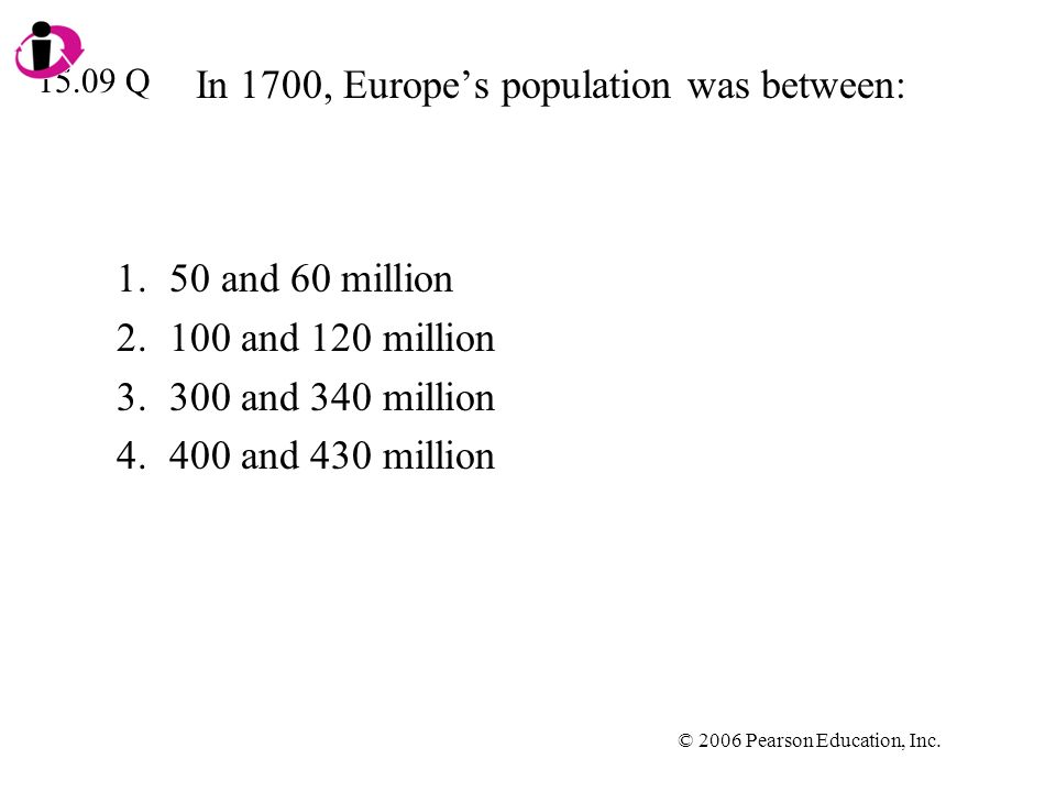 © 2006 Pearson Education, Inc. In 1700, Europes population was between: 1.50 and 60 million 2.100 and 120 million 3.300 and 340 million 4.400 and 430